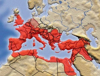 Roman Empire Superimposed over Modern Nation States.